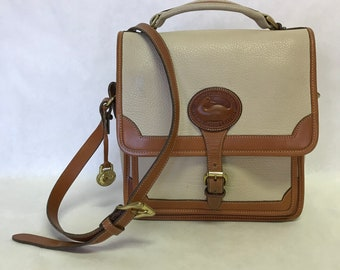 Vintage Dooney & Bourke All Weather Leather Cream/Tan Crossbody Purse / Made in the USA
