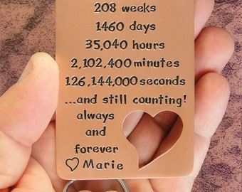 Card And Keychain, Couples Gift, 4th Anniversary, Gift For Men, Boyfriend Gift, Custom Copper