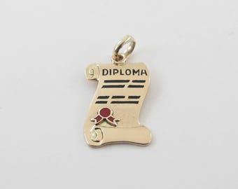 14k Yellow Gold School College Diploma Charm Pendant