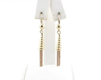 14K Yellow And Rose Gold Dangling Earrings Leverback Drop Earrings
