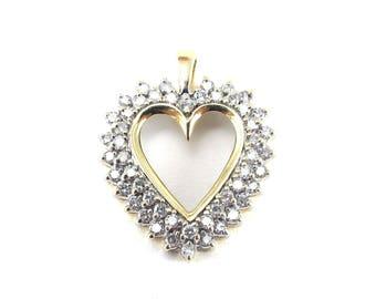 14k Yellow Gold Diamond Heart Pendant- Love And Friendship Jewelry 1.50 carats