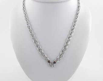 14K White Gold Rolo Link Toggle Lock Necklace 18 inches 8.7 grams