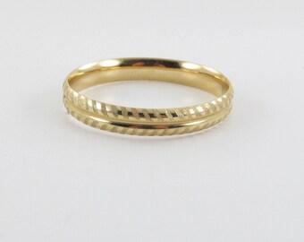 "14k Yellow Gold Bangle Bracelet 7"" 16.6 g - Diamond Cut Bangle Bracelet"