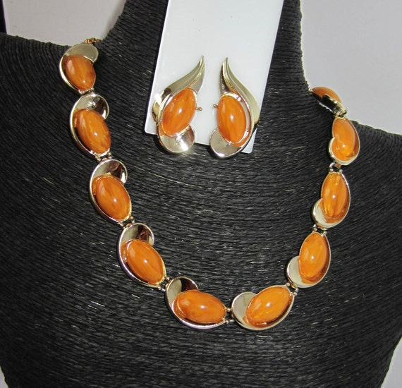Charel signed rich, buttery Butterscotch Bakelite tested panel Necklace & Earring Set ~pretty vintage costume jewelry