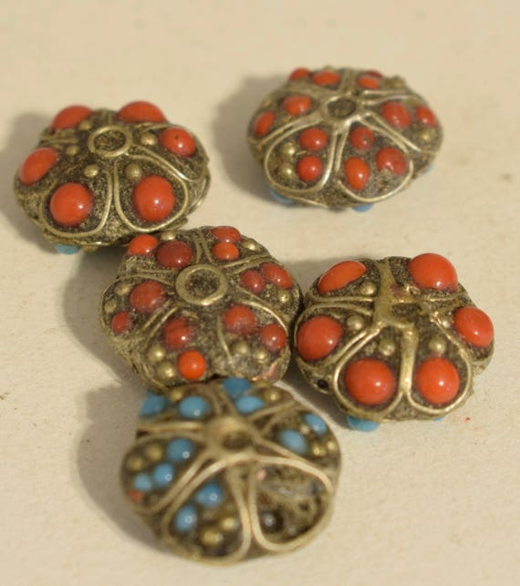Beads Vintage Nepal Tibetan Silver Flower Turquoise Coral Glass Necklaces  Jewelry Tibet Beads
