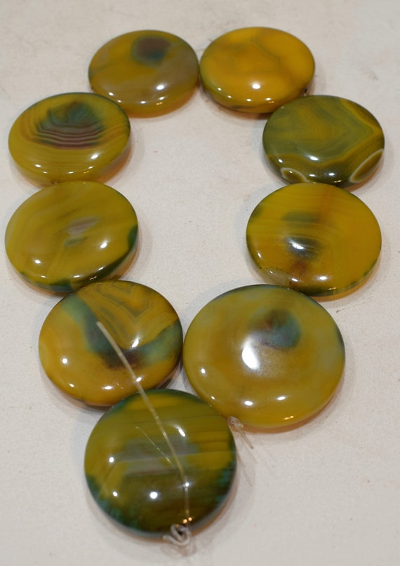 Beads Agate Chinese Stone Yellow Green Round Beads Necklaces Round Beads 45mm