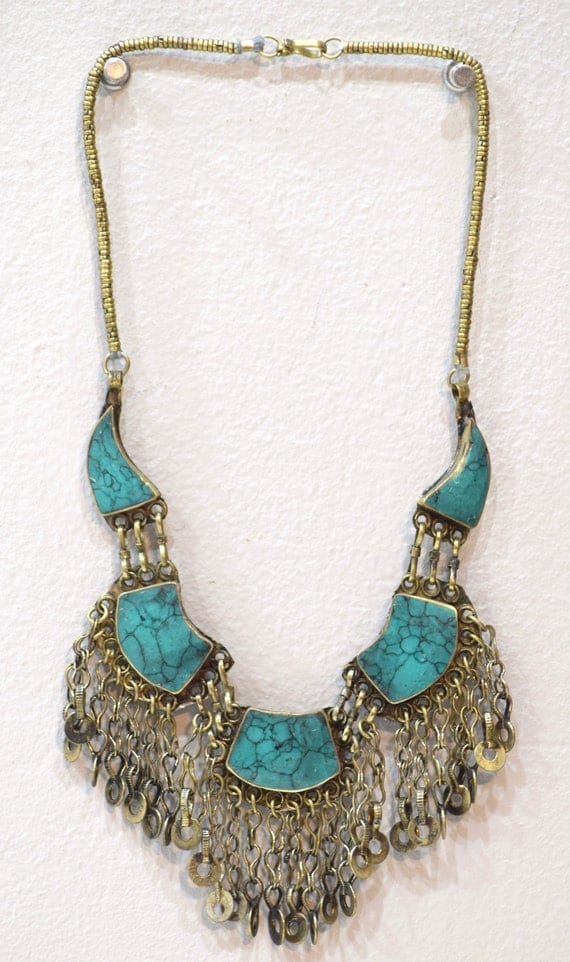 Necklace Middle Eastern Turquoise Stone Necklace 24""