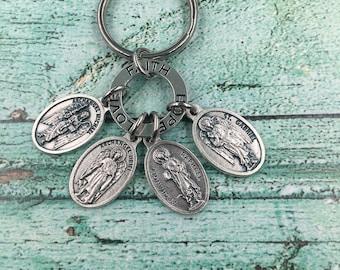 Love Faith Hope Affirmaton Circle,Protection Key Ring,Archangel Key Ring,Archangel Michael,Uriel,Raphael,Gabriel Medals,Archangel Key Ring