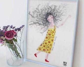 Blade girl dishevelled, Marta eat Illustration