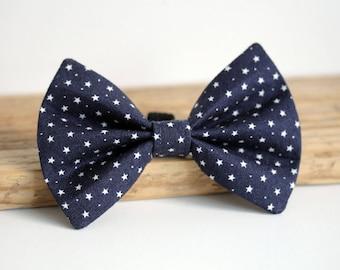 Navy star Dog Bow Tie