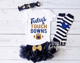 Football Outfit, Baby Girl Football Onesie, Football Onesie, Tutus Touchdowns Onesie, Thanksgiving Outfit, Halloween, Pumpkin Spice