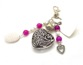 A scent! silver plated bag charm, purple and white beads heart charms