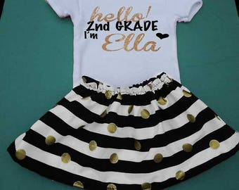 Hello 2nd Grade Outfit, Add Name, Second Grade Back to School T Shirt,First Day of 2nd Grade T-Shirt, First Day of School,White Black Gold