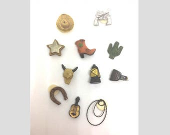 Western Cowboy Push Pins or Magnets, Childs Cork Board, Fun Thumb Tacks, Message Board Push Pin, Cubicle Decoration