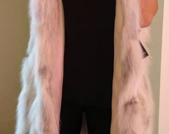 NEW! Natural,Real LONG Hooded Fox Fur Vest!