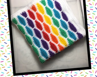 Littlebits Newborn Baby Crocheted Rainbow & White Mini Layer/Blanket - Handcrafted in Australia RTS