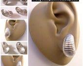 Monet Shrimp Half Hoop Clip On or Pierced Earrings Silver Tone Vintage Horizontal Ridge Lined Curved Dangles