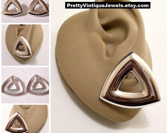 Monet Big Triangle Pierced Earrings Silver Tone Vintage Large Wide Domed Swirl Band Dangles