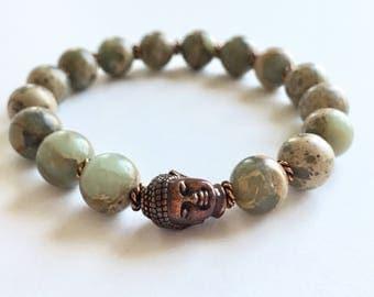 Boho Aqua Terra Jasper Copper Buddha Bracelet
