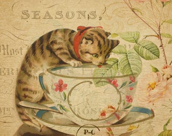 Adorable Cat Vintage French Postcard,Ideal for a child's room or Nursery decor, It's also a perfect gift for a cat lover person.