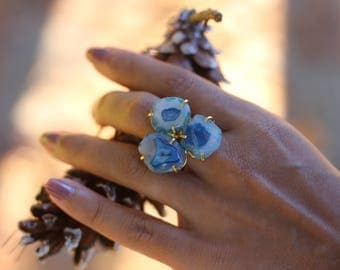 BLUE DRUZY TRIPLE Stone Ring / Handmade / Gold Plated / Gifts for her