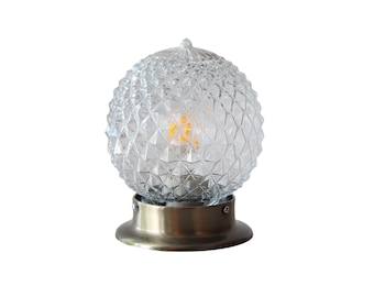 ceiling flush mount light mid century modern wall sconce globe clear glass diamond lamp bathroom kitchen