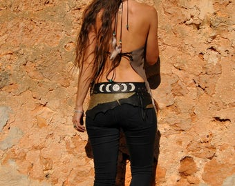 NITA MOON handmade leather belt in colours black and grey, with rivets and feathers