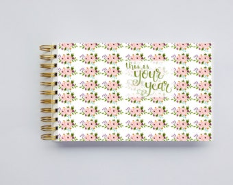 WIDE Undated Inspirational Planner - One Year Fill in Calendar Notebook - Floral Weekly Planbook - Monthly Weekly Mom Boss Schedule