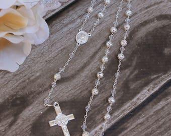 FAST SHIPPING!! Beautiful Silver Rosary, Wedding Rosary, Communion Rosary, Christening Rosary, Confirmation Rosary, Rosary Gift, Baptism
