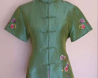 Silk top, M, L, Chinese top, Asian top, green top, formal top, embroidered top, cheongsam top