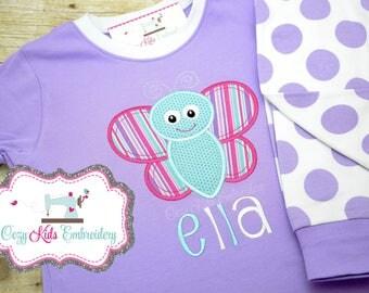 Monogram Pajamas, Monogram pajama, girl pajamas, girls pajamas, personalized pajamas, spring pajamas, butterfly, applique, embroidery