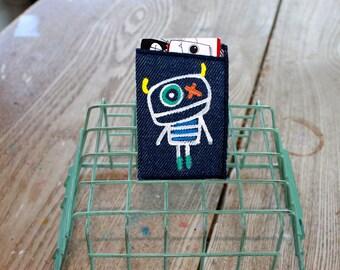Business card holder, accessory, unique, handmade, handpainted, the creepy, denim blue