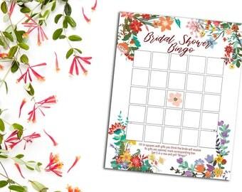Flower Bridal Shower Bingo, INSTANT DOWNLOAD, Flower Bridal Shower Games, Wedding Shower Bingo, Bridal Shower, Wedding Bingo, Wedding Shower