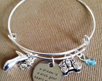 Silver Bracelet Inspired by Charm Bracelet, Dream ia Wish your heart makes, Cinderella Castle, glass slipper, fairy godmother, carriage