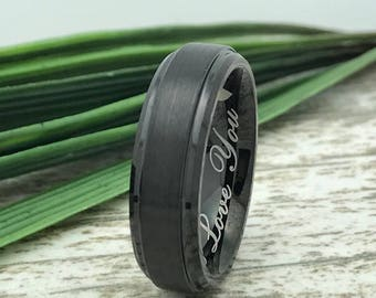 6mm Personalized Cobalt Wedding Ring, Brushed Finish Cobalt Ring Band,  Black Cobalt Wedding Ring, Comfort Fit