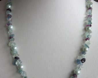 Fluorite and shell pearl necklace,classic necklace,mint green and purple necklace,tropical seas necklace,fluorite nugget necklace.