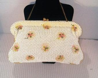 Vintage Corde Bead Lumured Evening Clutch, Beaded White with Pink Flower Motif, Purse, Handbag,