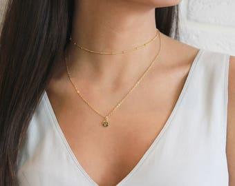 Beaded Choker Necklace, Satellite Choker Necklace, Dew Drop Choker Necklace, Dainty Gold Choker, Layered Chokers, Gift for Her