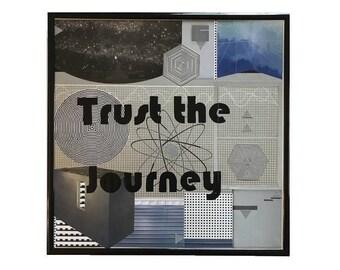 Original Collage Artwork Trust the Journey Vintage Vinyl Record Cover Art Framed Mixed Media Metallic Intergalactic Home Decor Wall Art