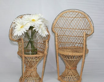 Pair of Wicker Chair Plant Stands, 2 natural wicker boho style plant stands.
