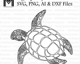 Sea Turtle svg, png, ai and dxf Files -For Commercial & Personal Use- SVG for Cricut Silhouette and Cameo - Vinyl file - Surf Cali