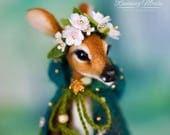 Needle felted deer. Needle felted fawn. OAAK Deer Doll. Fawn doll. Forest Fairy. Art doll. Forest fawn. Little Deer. Little Doe
