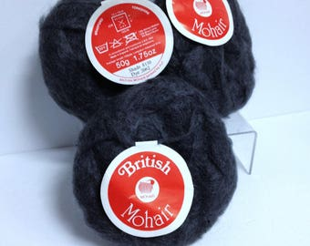 British Mohair Wool Made in England Dark Gray Wool From British Mohair Spinners PLC Mohair Yarn Vintage Destash Fiber Art & Craft Supplies