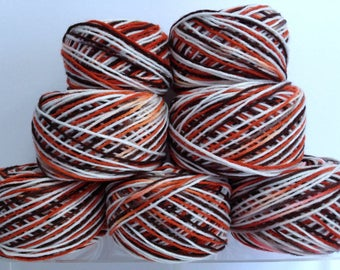 Vintage A & W Root Beer Colors Variegated Yarn Bundle, Canadian Classic Colors for Unique Knitting Effects Destash Art Supply Fiber Art Yarn