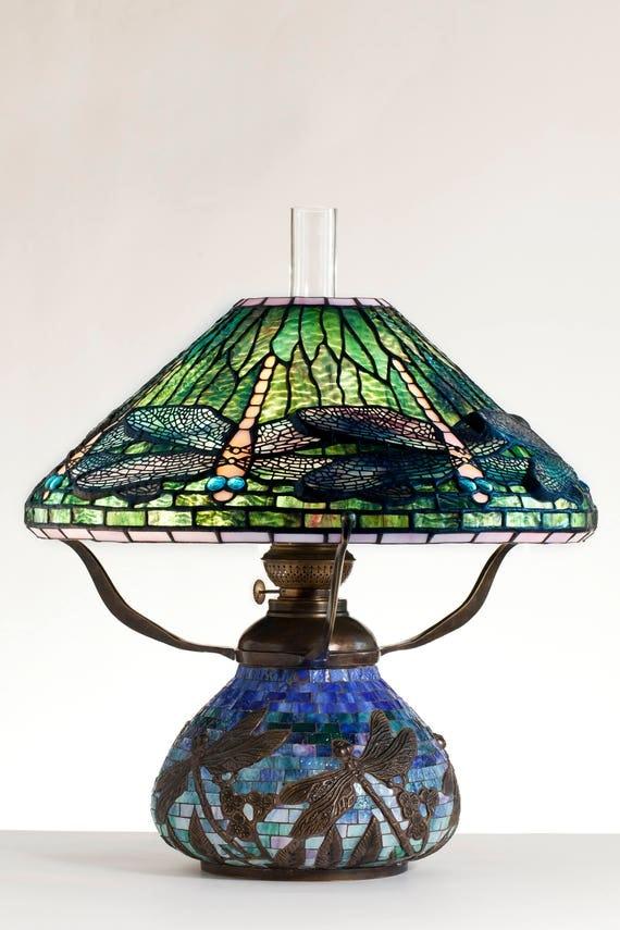 Dragonfly Lamp, Oil Lamp, Tiffany Lamp, Desk Lamp, Mosaic Lamps, Oil Lamp Shade, Standing Lamp, Mosaic Lamp, Kitchen Light, Dragonfly Art