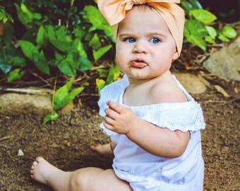 APRICOT Gorgeous Wrap- headwrap; fabric head wrap; head wrap; boho; newborn headband; baby headband; toddler headband