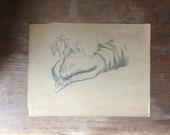 "Vintage Unsigned Study of Hand with Flower Pencil Drawing Anatomy Sketch Illustration 9 1/2"" x 12 1/2"""