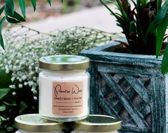 Herb Scented | Rosemary, Basil + Thyme, Mint | Soy Wax Candle | 4oz Mini