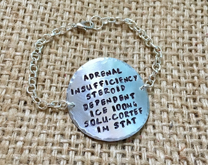 Medical ID Bracelet, Custom Medical ID, Stamped ID Bracelet, Alert Bracelet, Diabetic Id Bracelet, Medical Id Tag, Allergy Bracelet,