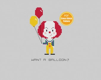 Pennywise the Clown Cross stitch Pattern - Stephen Kings IT - PDF Instant Download